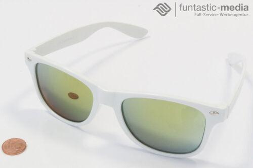 VIPER Damen und Herren Sonnenbrille weiß gold verspiegelt