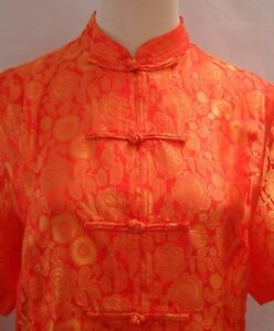 Asian-Inspired-Silk-Jacquard-PJs-Style-2-pieces-Set-Rose-Pattern-K888