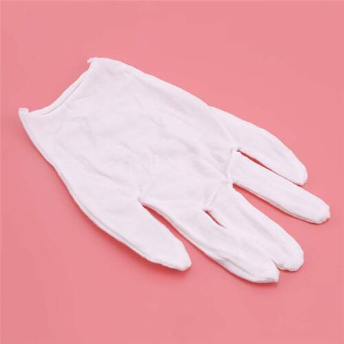 White 12 Pair Soft Cotton Work Gloves Coin Jewelry Silver Inspection Handling CB
