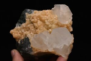 682g Natural Green Fluorite Calcite Crystal Cluster Rare Mineral Specimen China
