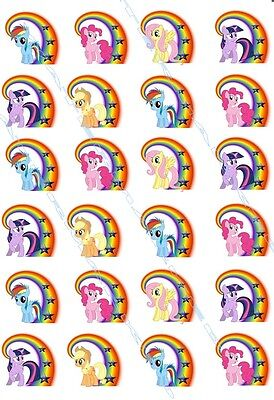 24x MY LITTLE PONY  stand up edible wafer paper birthday party cupcake toppers
