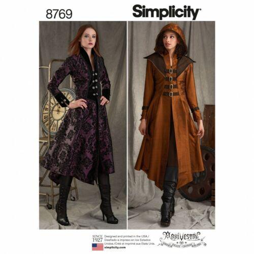 abrigos de R5 Simplicity Sewing Pattern 8769 trajes 14-16-18-20-22