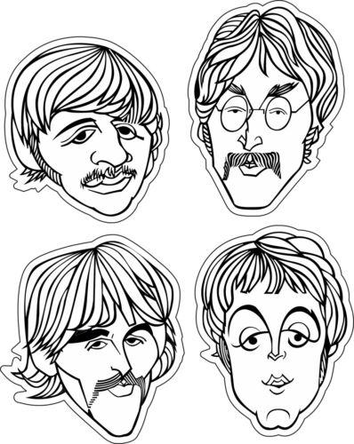 """EA Head 3/""""x2/"""" Beatles les 4 têtes de musique Autocollant Mural Décoration Autocollant Vinyle"""