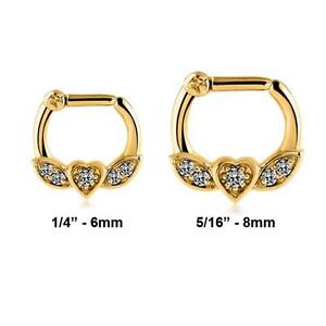 861972a951fed Details about Gold PVD Coated 316L Surgical Steel Septum Clicker Nose Ring  Hoop Clear CZ 14G