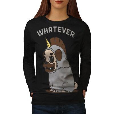 Brioso Qualunque Cosa Cane Unicorno Donne Manica Lunga T-shirt Nuove | Wellcoda-mostra Il Titolo Originale