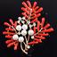 Femmes Rouge Émail Corail Lapel Pin Cristal Strass Perle Bouquet Broche Mariage