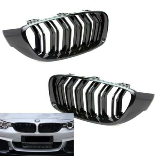 M4 Style PIANO GLOSS BLACK Front Grilles Grille For BMW 14-18 F32 F33 F36 435i