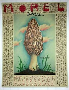 Vtg-1987-May-Calendar-Print-034-Morel-Time-034-by-Moe-Moelering-Wash-U-St-Louis-MO