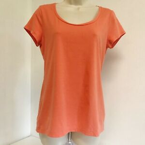 Ann-Taylor-Womens-T-Shirt-Top-M-Orange-Scoop-Neck-Short-Sleeve-Pullover-Stretch
