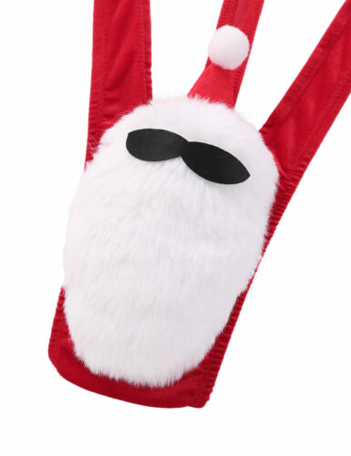 Men Christmas Mankini Costume Fancy Dress Stag Santa Mankini Thong Underwear