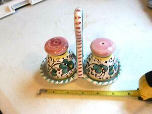 Ravello-Da-Lena-Italian-Pottery-Salt-amp-Pepper-Shakers-in-Holder-Italy