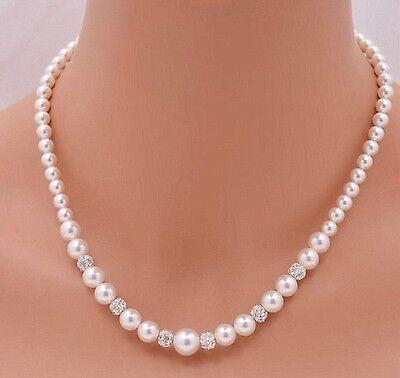 Teardrop Pearl /& Diamante Ball Necklace for Women Bridesmaid Gift Wedding V1244