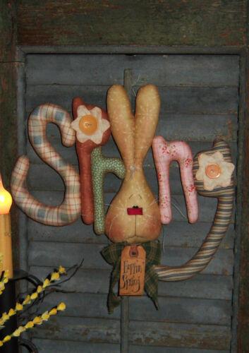 Primitive Spring Bunny Rabbit Door Doll Paper Pattern #305