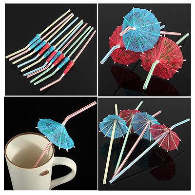 50/100Pcs Hawaiian Cocktail Umbrella Drinking Juice Straw Novelty Party Decor