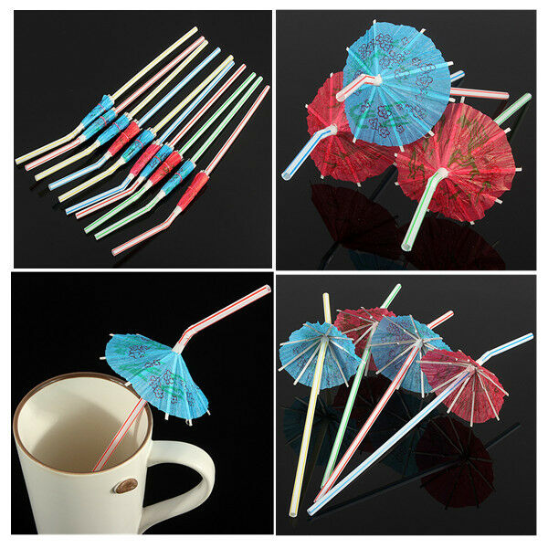 50/100Pcs Hawaiian Cocktail Umbrella Drinking Juice Straw Novelty Party Decor