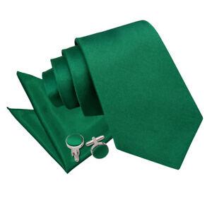 DQT-Saten-llano-solido-verde-esmeralda-Corbata-Panuelo-Gemelos-Cenido-Ajustado-Clasico