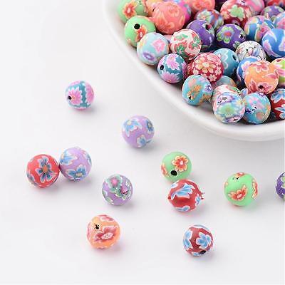50 Stück Fimo 8-9mm Perlen Polymer Clay Beads Basteln 1446