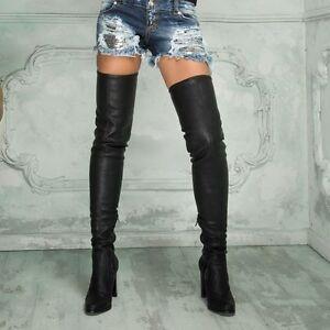 Damen Schuhe Stiefel designer High Heel Stiletto Overknee 8191 Schwarz 39