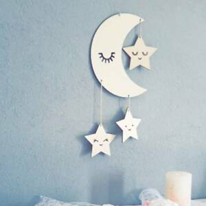 Details About Baby Children Room Hanging Wooden Cloud Moon Star Nursery Decor Dream Catcher