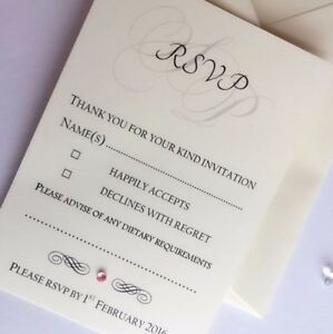 rsvp cards free envelopes colour diamante or pearl a7 size initials