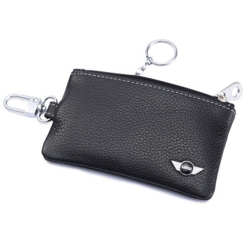 MINI Cooper Key Holder Remote Cover Fob Case Bag 1 Metal Keyring Genuine Leather