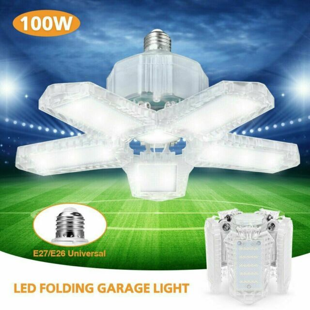 E26 E27 60-120W LED Garage Light Bulb Deformable Ceiling Fixtures Workshop Lamp
