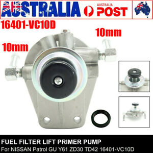 FUEL FILTER PRIMER PUMP 10mm FOR NISSAN GU PATROL ZD30 3.0L TURBO DIESEL 00-07