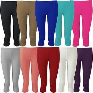 43f1027ee4875 New Womens Plus Size Plain 3/4 Cropped Viscose Leggings 12-30 | eBay