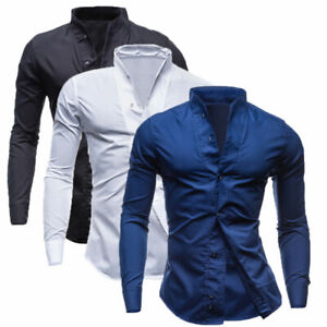 Cotton-Men-039-s-Daily-Wear-Casual-Shirt-Slim-Long-Sleeve-Tops-Fashion-Blouse-Shirts