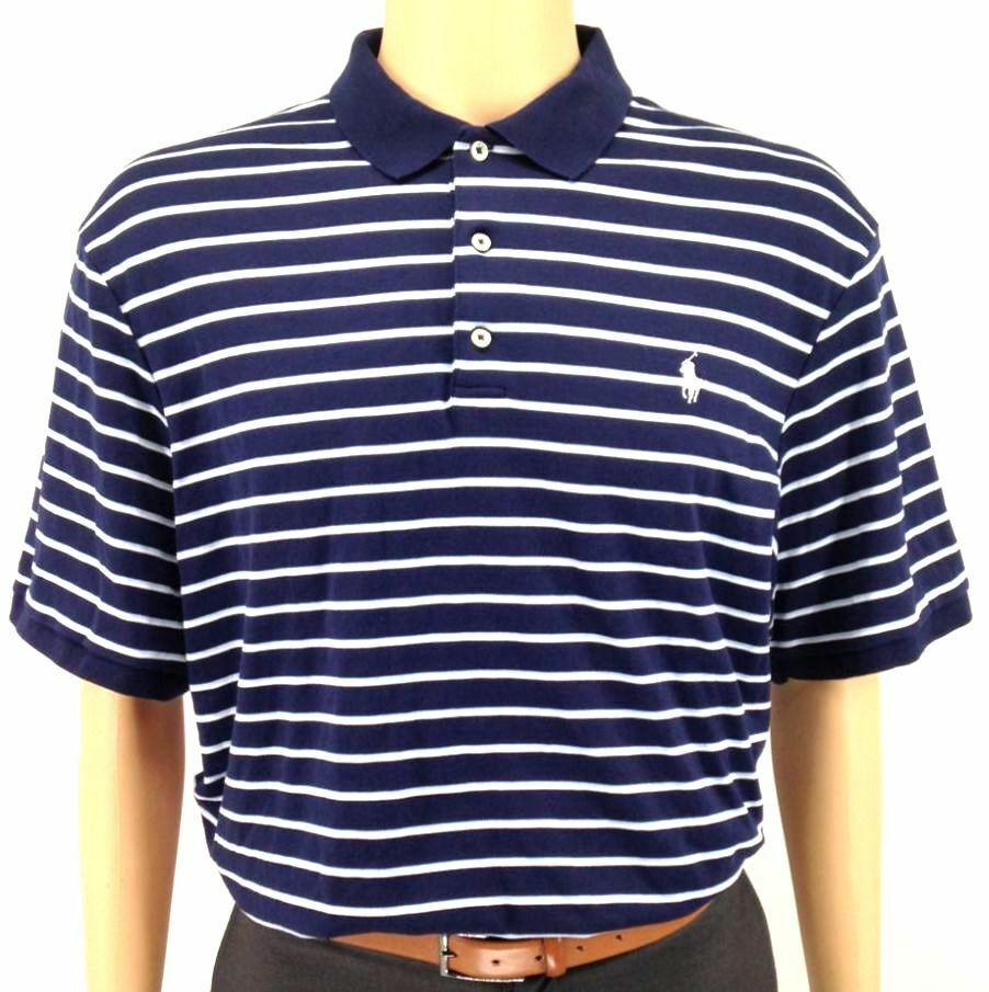 POLO RALPH LAUREN Men's blueE STRIPE LOGO CLASSIC-FIT SHORT SLEEVE SHIRT XXL