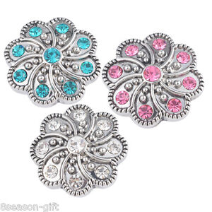 Gift Wholesale Crystal Flower Tibetan Snap Buttons Jewelry DIY