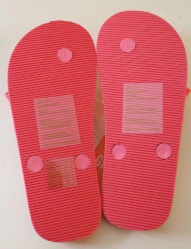 Gymboree Girls Bright Pink White Stripe Bow Accent Flip Flop Sandals NEW 11 12