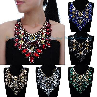 Fashion Women Jewelry Glass Cluster Chunky Choker Statement Pendant Bib Necklace
