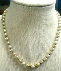 MIRIAM-HASKELL-Glass-Baroque-Pearl-17-034-Necklace-GORGEOUS