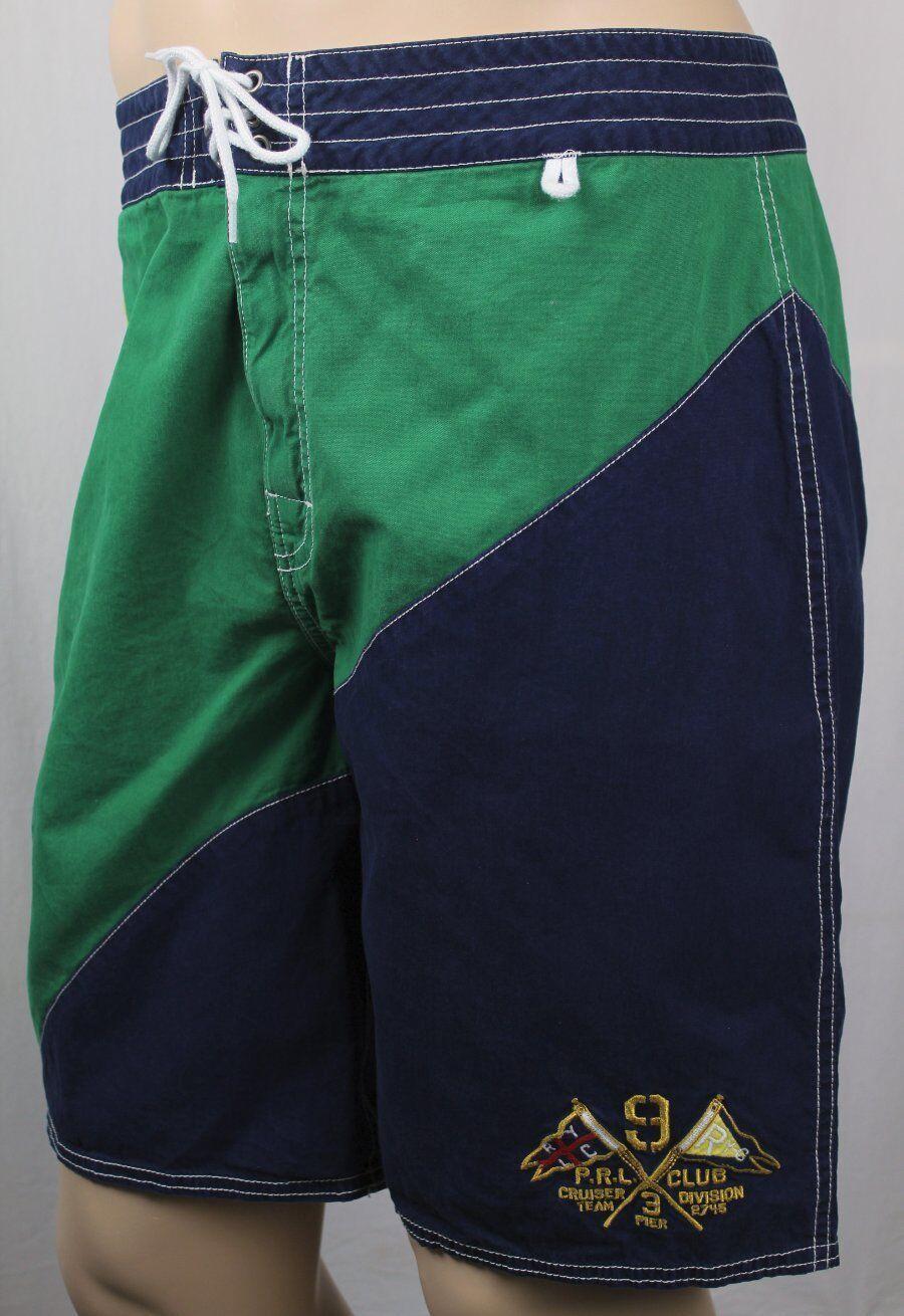 Polo Ralph Lauren bluee Green Nautical Board Shorts Trunks NWT