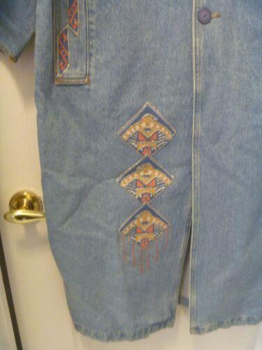 Håndmalet 4 Appliqued Southwest Coat Blue Længde Og Denim 3 TqPaZww