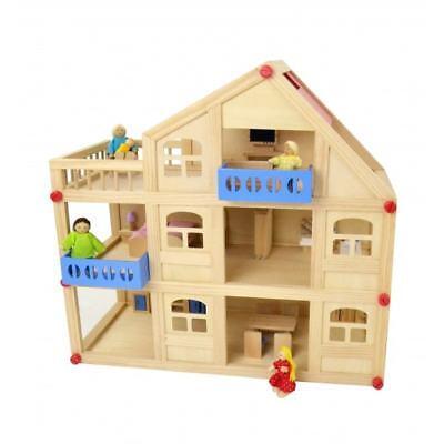 Puppenhaus Puppenstube Holz komplett möbliert Puppen 3 Etagen mit Einrichtung