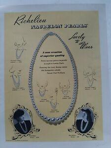 1941-Richelieu-Nacrelon-Perlas-Collar-Vintage-Joyeria-Original-Anuncio