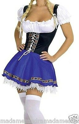 SEXY FRENCH MAID COSTUME BEER GIRL OUTFIT Blue Wench Fancy Dress Waitress.MS1012