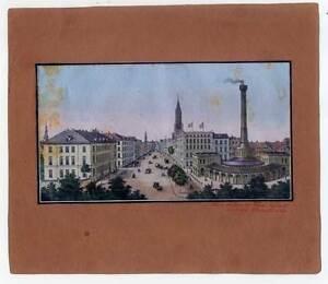 Hamburg-Steinstrasse-altkolorierte-Lithographie-um-1850