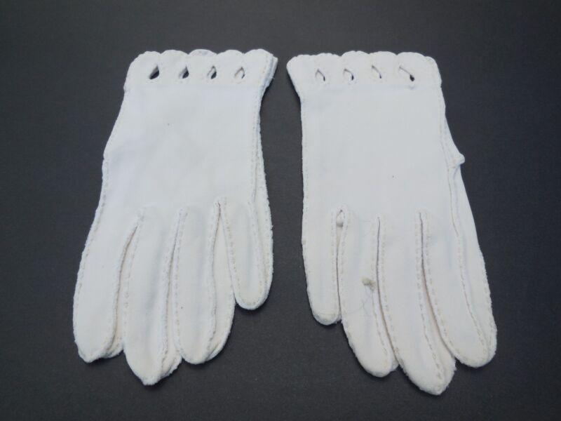 **designer Ladies Beige Cotton Gloves Unlined Size 6.5