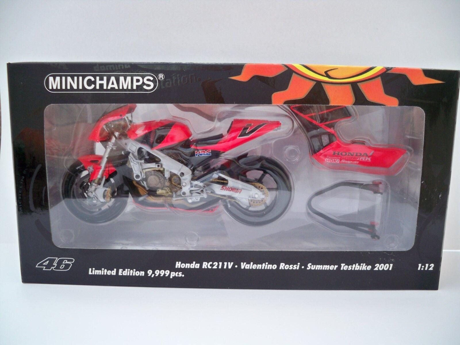 ventas directas de fábrica Minichamps HONDA RC211V Bicicleta de prueba V. V. V. Rossi 2001 1 12 Escala (nuevo)  disfrutando de sus compras