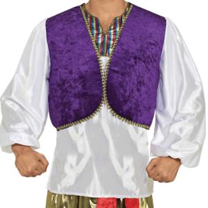 Adult Desert Prince Shirt Arabian Bollywood Aladdin Mens Fancy Dress Outfit New