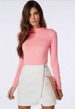 BNWT Missguided High Neck Long Sleeve Top Size 10 Pink Peach Turtle Casual Rose