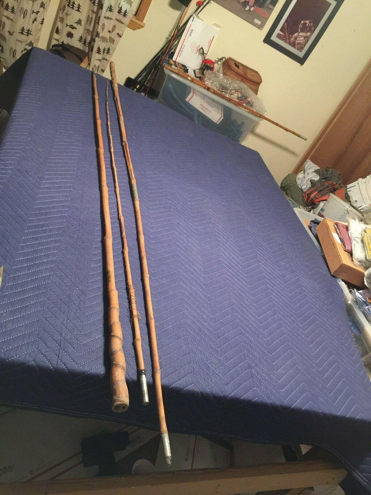 Vintage Lews Alabama Supremo Caña De Bambú Poste Pesca Polo Japón
