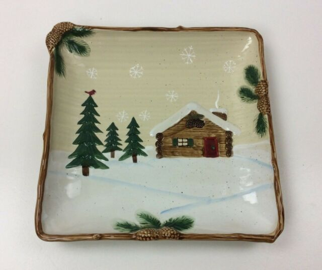 Christmas Platter Plates.St Nicholas Square Heartland 11 X 11 Platter Serving Tray Christmas Cabin