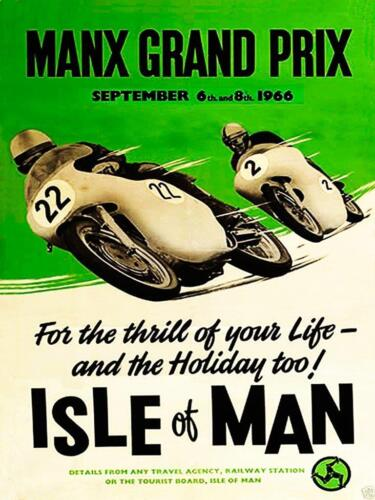 Sign//advert Funny:Retro Look Metal Wall Plaque//Sign T.T Races Isle of MAN 1966