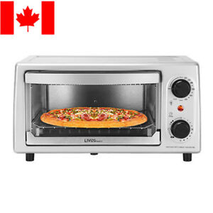 LIVINGbasics-Toaster-Oven-4-Slice-9-034-Pizza-Capacity-Stainless-Steel-Broiler