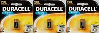 3new duracell 6 Volt Lithium Photo Camera Battery 28l, 2cr11108, L544, Px28l