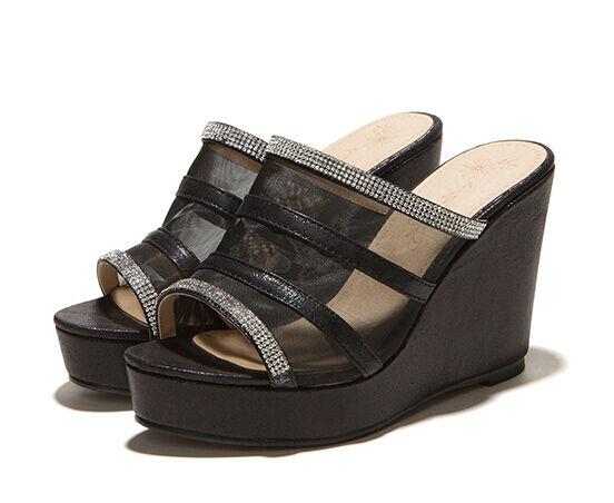 Scarpe ciabatte sabot sandali tacco zeppa 10 cm trasparente nero elegante 9300
